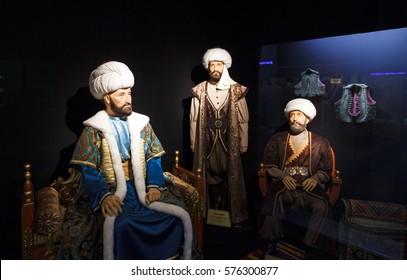 ESKISEHIR, TURKEY - NOVEMBER 24 2016 : Yilmaz Buyukersen Wax Sculpture Museum. Ottoman Sultans.