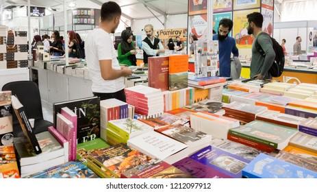 Eskisehir, Turkey - October 09, 2018: People visiting Eskisehir Book Fair in Turkey