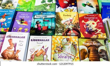 Eskisehir, Turkey - October 09, 2018: Several children's books exhibited on the stand at Eskisehir Book Fair