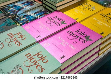 Eskisehir, Turkey - October 09, 2018: Jojo Moyes books exhibited on the stand at Eskisehir Book Fair