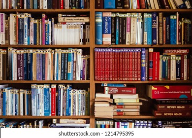 ESKISEHIR, TURKEY, SEP 14, 2018: Several Turkish books in library