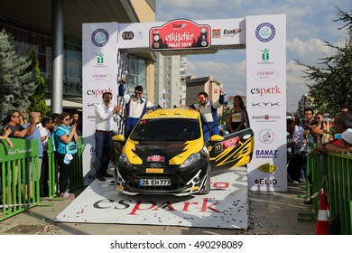 ESKISEHIR, TURKEY - SEPTEMBER 04, 2016: Can Alt�±nok with Ford Fiesta R2 in finish ceremony of Eskisehir Rally