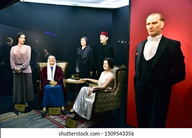 ESKISEHIR, TURKEY, September 2019: Wax sculptures of Mustafa Kemal Ataturk's family, inside Yilmaz Buyukersen Wax Sculpture Museum, Eskisehir, Turkey.
