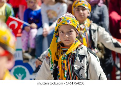 Eskisehir/ TURKEY-April 23, 2019: April 23 National Sovereignty and Children's Day anniversary.The children are  celebrating children's day with folk dance.