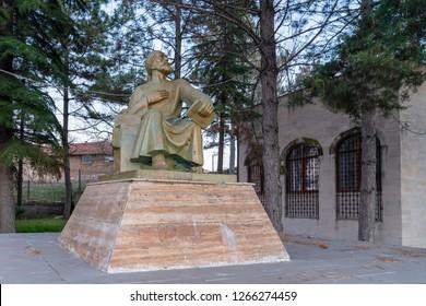 Eskisehir/Turkey-December 8 2018: Yunus Emre Museum and Yunus Emre Statue was made by Yilmaz Buyukersen in Yunus Emre village
