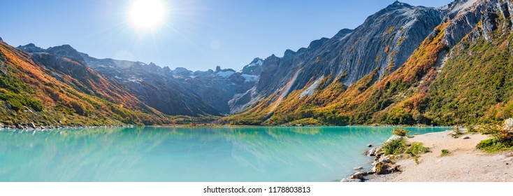 Esmeralda lake and Beautiful landscape of lenga forest, mountains at Tierra del Fuego National Park, Patagonia, autumn