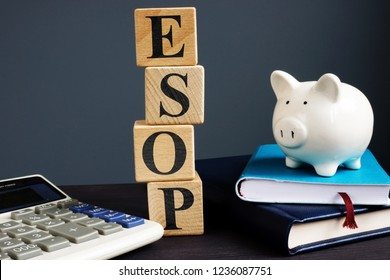 ESOP employee stock ownership plans. Cubes with letters.
