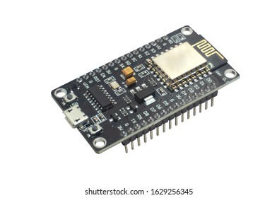 ESP8266 NodeMCU microcontroller isolated on a white background with clipping path