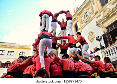 Espana,Catalonia,18.8.2018.The Castellers de Vilafranca is a cultural and sporting association whose main objective is to build castells (human towers).