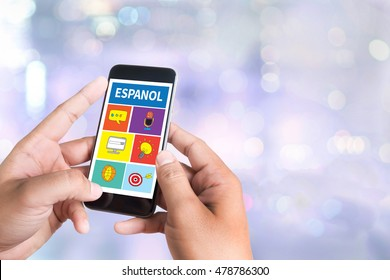 ESPANOL   Learn spanish Education and Habla Espanol , Asking Do You Speak Spanish person holding a smartphone on blurred cityscape background