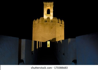 Espantaperros Tower at night, erected by the Almohads in the 12th century, the most outstanding of the Albarran towers of the Arab Citadel, Badajoz, Spain