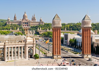 Espanya Square in Barcelona and National Palace