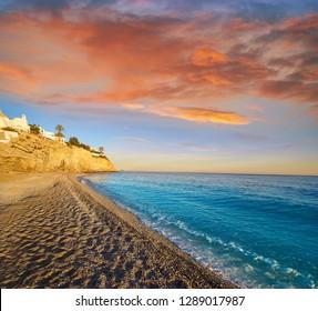 Esparrello beach playa in Villajoyosa of alicante in Spain also Asparrallo in Vila Joiosa at Costa Blanca