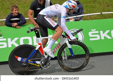 Espelette, France - July 28, 2018: Pierre Latour in his white jersey during the individual time trial