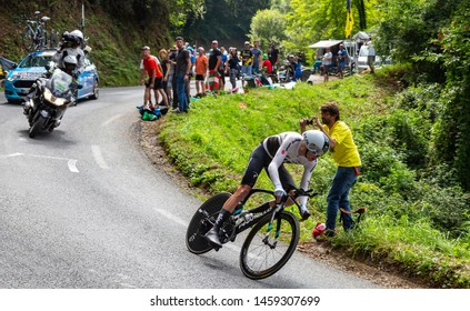 Espelette, France - July 28,2018: The British cyclist Chris Froome of Team Sky riding during the Individual  Against the Clock 20th stage of Tour de France 2018.