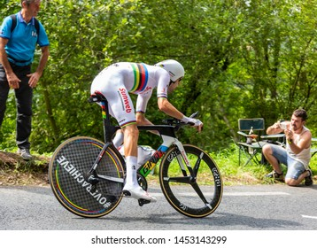 Espelette, France - July 28,2018: The Dutch cyclist Tom Dumoulin of Team Sunweb riding during the Individual  Against the Clock 20th stage of Tour de France 2018.