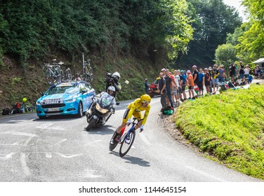 Espelette, France - July 28,2018: Geraint Thomas wearing The Yellow Jersey, riding during the Individual  Against the Clock 20th stage of Tour de France 2018. He won this edition of The Tour