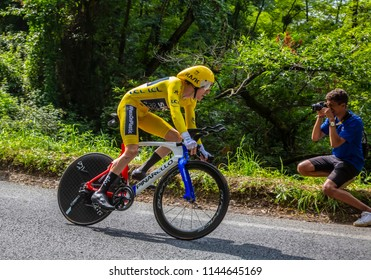 Espelette, France - July 28,2018:  Geraint Thomas wearing The Yellow Jersey, riding during the Individual  Against the Clock 20th stage of Tour de France 2018. He won this edition of The Tour.