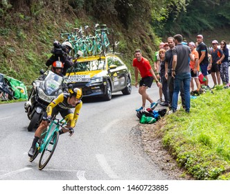 Espelette, France - July 28,2018: The Slovenian cyclist Primoz Roglic of Team LottoNL-Jumbo riding during the Individual  Against the Clock 20th stage of Tour de France 2018.