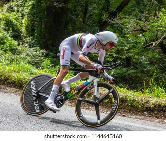 Espelette, France - July 28,2018: Tom Dumoulin of Team Sunweb riding during the Individual  Against the Clock 20th stage of Tour de France 2018. He won this stage and the second place of The Tour.
