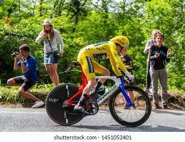 Espelette, France - July 28,2018: The Welsh cyclist Geraint Thomas of Team Sky wearing The Yellow Jersey, riding during the Individual  Against the Clock 20th stage of Tour de France 2018.
