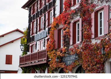 Espelette, France; November 7 2018: Espelette is a commune in the Pyrénées-Atlantiques in south-western France. The town is attractive with traditional Labourd houses, and is known for its red peppers