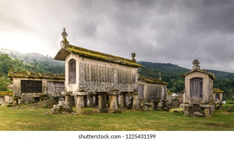 Espigueiros in Lindoso, traditional granaries built above ground and supported by granite stilts, Peneda-Geres NP, Portugal.