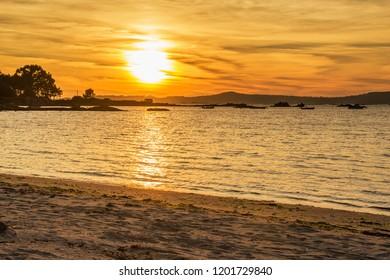Espineiro beach in Arousa Island at golden sunset