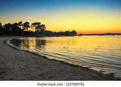 Espineiro beach at the evening in Arousa Island, Galicia, Spain