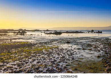 Espineiro beach at low tide on the evening in Arousa Island
