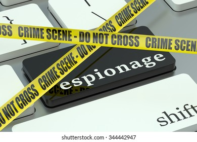espionage concept, on the computer keyboard