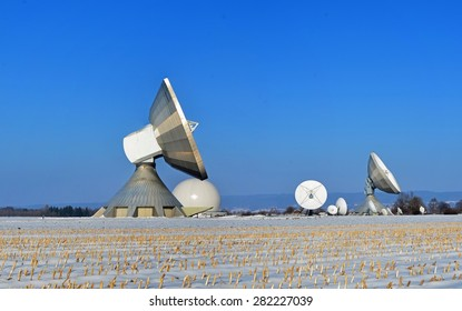 Espionage system in the snow with blue sky