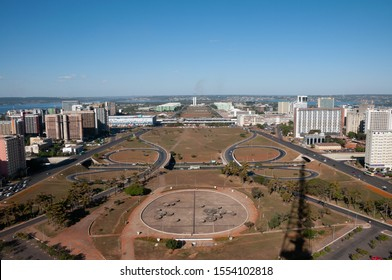Esplanade of Brasilia with ministries and Congress of Brazil. Panoramic view from TV Tower. City designed for the architect Niemeyer.