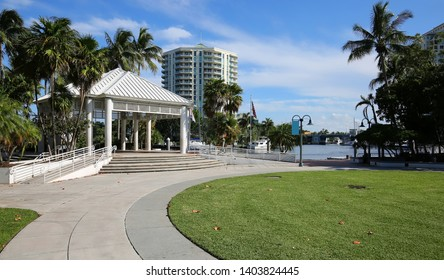 Esplanade  Park located on the waterfront in the Arts and Entertainment district in downtown Fort Lauderdale, Florida, USA.