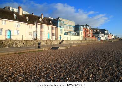 Esplanade with pebble beach in Lyme Regis, Dorset