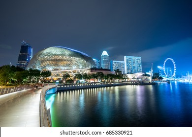 Esplanade, Singapore - 14 June 2017: Esplanade Theatres on the bay, One of a famous tourist attraction in Singapore, The building's design look like either a durian or the eyes of a fly.