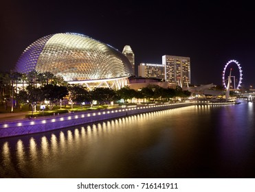 Esplanade theatre and Singapore river embankment night view, Singapore, 22.05.2011