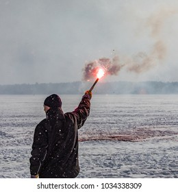 Espoo / Finland - 02 25 2018: Maritime Distress Signal training in Espoo. Arranged by Espoon Meripelastajat part of Finnish Lifeboat Institute. Flares, Rockets and smokes were used.