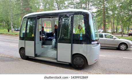 Espoo, Finland -07-02-2019: GACHA – Self-driving shuttle bus for all weather conditions. Offering smart, safe and sustainable on-demand transportation all year around. Max speed: 40 km/h autonomous.