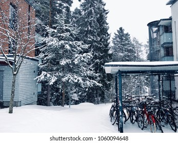Espoo, Finland - Apr 2, 2018. A snowy and white scenery of April's first week