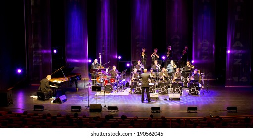 ESPOO, FINLAND - APRIL  25, 2014: Finnish jazz pianist  Iiro Rantala & Espoo Big Band perform live on 28th April Jazz. He is one of the best known Finnish jazz pianists, both in Finland and abroad.