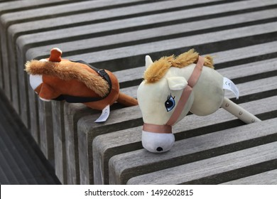 ESPOO, FINLAND - August 31 2019. In the annual urban festival Espoo day, one of the activities for the children was to ride a hobby horse. These hobby horses are waiting for the riders.