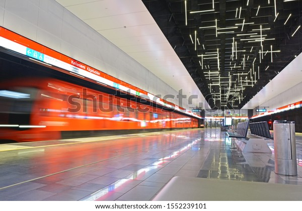 ESPOO, FINLAND - AUGUST 5, 2019 - Metro train arriving on Keilaniemi station on Lansimetro extension of Helinski Metro