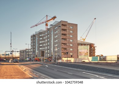 Espoo, Finland - January 8, 2018: building construction site Bonava, new apartments in Espoo city