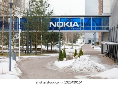 ESPOO, FINLAND - MARCH 03, 2019: Large Nokia brand name on blue bridge connecting buildings in Nokia campus in Espoo, Finland