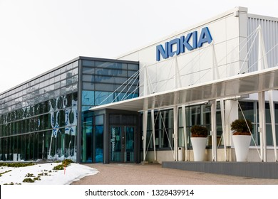 ESPOO, FINLAND - MARCH 03, 2019: Nokia company name on a building wall in Nokia campus in Espoo, Finland