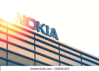 ESPOO, FINLAND - MARCH 03, 2019: Big Nokia brand name on top of an office building in Nokia Campus in Espoo, Finland