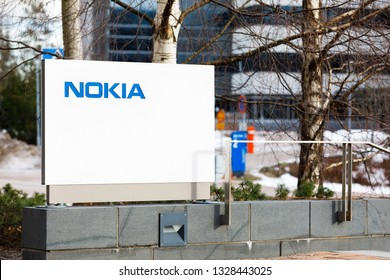 ESPOO, FINLAND - MARCH 03, 2019: Nokia company name on white board next to Nokia head quarter entrance in Espoo, Finland