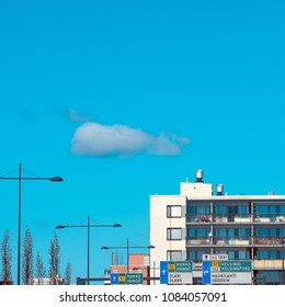 Espoo, Finland - May 1, 2018. Blue sky and grey cloud on Vappu May Day Celebrations