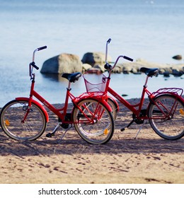 Espoo, Finland - May 1, 2018. Bicycles standing on the beach on Vappu May Day Celebrations